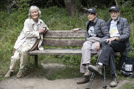 Virginia McKenna OBE, legendary actress and co-founder of the wildlife charity Born Free with friends including charity walkers Angela and Martin Humphrey combined age of 180 for last day of fundraising walk.