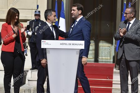 New Interior Minister Gerald Darmanin (CL), flanked by New Minister in charge of Citizenship Marlene Schiappa (L), greets outgoing Interior Minister Christophe Castaner (CR) and French Junior Interior Minister Laurent Nunez (R) during a handover ceremony at the Interior Ministry in Paris, France, 07 July 2020. Darmanin has been appointed as the new Interior Minister after the government of Edouard Philippe had resigned on 03 July 2020, prompting a government and cabinet reshuffle.