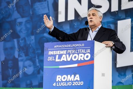 """Vice President of Forza Italia party Antonio Tajani during the demonstration of the center-right """"Together for Italy of Labor"""" in protest to the Conte government"""