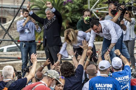 """Vice President of Forza Italia party Antonio Tajani, Leader of Fratelli D'Italia party Giorgia Meloni, leader of Lega party Matteo Salvini during the demonstration of the center-right """"Together for Italy of Labor"""" in protest to the Conte government"""
