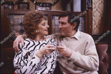 Barbara Knox (as Rita Fairclough) and Mark Eden (as Alan Bradley)