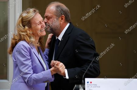 New Justice Minister Eric Dupond-Moretti (R) embraces outgoing Justice Minister Nicole Belloubet (L) during a handover ceremony at the Ministry of Justice in Paris, France, 07 July 2020. Lawyer Dupond-Moretti has been appointed as the new Justice Minister after the government of Edouard Philippe had resigned on 03 July 2020, prompting a government and cabinet reshuffle.