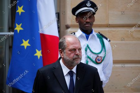 Stock Image of New French Justice Minister Eric Dupond-Moretti looks on during a handover ceremony with outgoing Justice Minister Nicole Belloubet at the Ministry of Justice in Paris, France, . Lawyer Dupond-Moretti has been appointed as the new Justice Minister after the government of Edouard Philippe had resigned on July 3, 2020, prompting a government and cabinet reshuffle