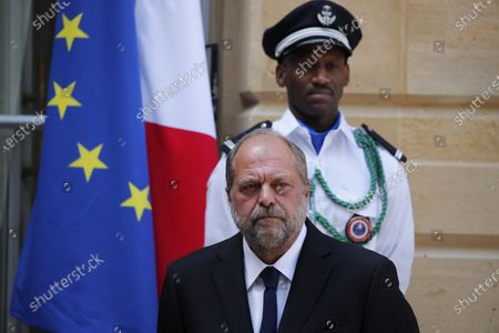New French Justice Minister Eric Dupond-Moretti looks on during a handover ceremony with outgoing Justice Minister Nicole Belloubet at the Ministry of Justice in Paris, France, . Lawyer Dupond-Moretti has been appointed as the new Justice Minister after the government of Edouard Philippe had resigned on July 3, 2020, prompting a government and cabinet reshuffle
