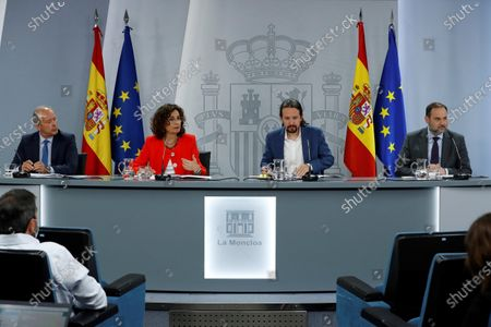 (L-R) Spanish Justice Minister Juan Carlos Campo, Treasure Minister Maria Jesus Montero, Second Deputy Prime Minister Pablo Iglesias and Transport Minister Jose Luis Abalos address a press conference after the Cabinet's meeting at La Moncloa Palace, in Madrid, Spain, 07 July 2020. Government was to pass some measures to deal with crisis caused by coronavirus pandemic.