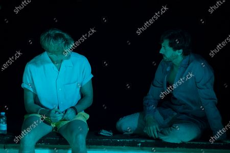 Tom Rhys Harries as Axel Collins and Juan Diego Botto as Oriol Calafat