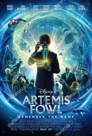 Artemis Fowl (2020) Poster Art. Judi Dench as Commander Root, Lara McDonnell as Holly Short, Josh Gad as Mulch Diggums, Ferdia Shaw as Artemis Fowl, Nonso Anozie as Domovoi Butler, Tamara Smart as Juliet Butler and Colin Farrell as Artemis Fowl Senior.