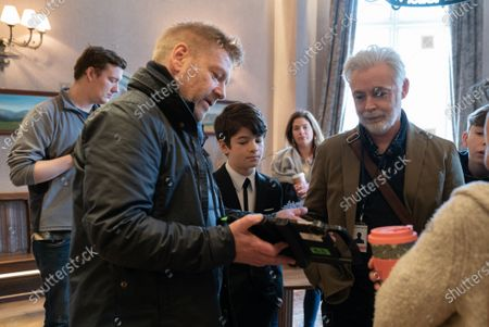 Kenneth Branagh Director, Ferdia Shaw as Artemis Fowl and Eoin Colfer Book Author