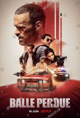 Stock Picture of Lost Bullet (2020) Poster Art. Alban Lenoir as Lino, Nicolas Duvauchelle as Areski, Rod Paradot as Quentin, Ramzy Bedia as Charas and Stefi Celma as Julia