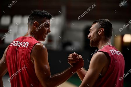 Argentine, Luis Scola of Pallacanestro Varese and Giancarlo Ferrero of Pallacanestro Varese (L-R) during the first training session in his new Italian Legabasket Serie A team Enerxenia Arena.