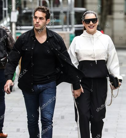 Kelly Brook and Jeremy Parisi seen arriving at the Global Radio Studios in London.