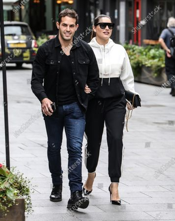 Stock Photo of Kelly Brook and Jeremy Parisi seen arriving at the Global Radio Studios in London.