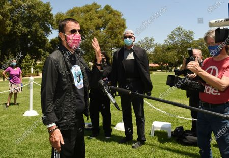 Musician Ringo Starr is interviewed at an event to celebrate his 80th birthday, in Beverly Hills, Calif