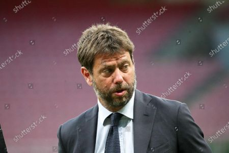 Juventus' Chairman Andrea Agnelli prior the Italian Serie A soccer match between AC Milan and Juventus Turin at the Giuseppe Meazza Stadium in Milan, Italy, 07 July 2020.