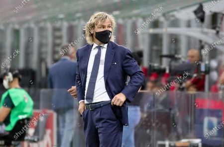 Juventus' Vice Chairman Pavel Nedved in a protective mask prior to the Italian Serie A soccer match between AC Milan and Juventus Turin at the Giuseppe Meazza Stadium in Milan, Italy, 07 July 2020.