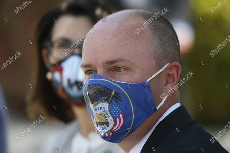 Stock Picture of Lt. Gov Spencer Cox arrives for a press conference at the Utah State Capitol, in Salt Lake City. Jon Huntsman Jr. was narrowly beaten Monday, July 6, 2020, by Cox, who had heightened visibility as he helped respond to the coronavirus and managed to pitch himself as an earnest politician with rural Utah roots