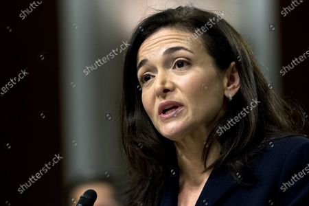 """Facebook COO Sheryl Sandberg testifies before the Senate Intelligence Committee hearing on """"Foreign Influence Operations and Their Use of Social Media Platforms,"""" on Capitol Hill in Washington. Sandberg and Facebook CEO Mark Zuckerberg met with civil rights leaders, including the organizers of a widespread advertising boycott of the social network over hate speech on its platform, in an effort to convince critics that it is doing everything it can to rid its service of hate, abuse and misinformation"""