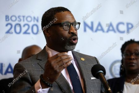 National Association for the Advancement of Colored People President Derrick Johnson faces reporters during a news conference in Boston. Facebook CEO Mark Zuckerberg and Chief Operating Officer Sheryl Sandberg met with civil rights leaders, Tuesday, July 7, 2020, including the organizers of a widespread advertising boycott of the social network over hate speech on its platform. Johnson, who was present on the Zoom meeting, said Facebook's executives only delivered cheap talk, filled with little commitment to new rules or actions that would curb racism and misinformation