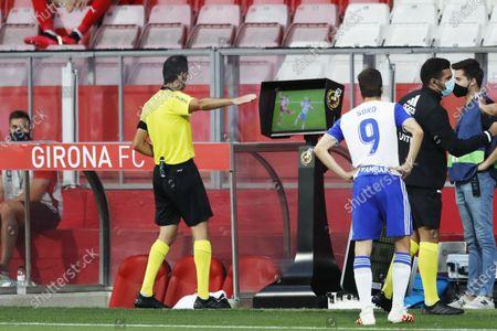 "Luis Mario Milla (Referee) - Football / Soccer : Spanish ""La Liga SmartBank"" match between Girona and Real Zaragoza at the Munincipal Montilivi Stadium in Girona, Spain."