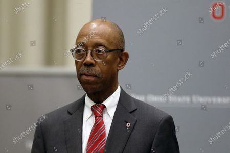 Ohio State University President Michael Drake makes a statement during a press conference in Columbus, Ohio. The University of California system has named Drake to replace Janet Napolitano and become its first Black president. A physician, Drake was unanimously approved, by the Board of Regents