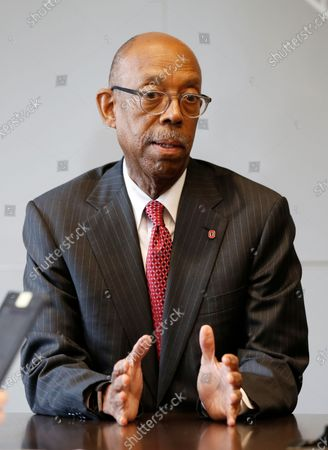 Ohio State University president Michael Drake answers questions during an interview in Columbus, Ohio. The University of California system has named Drake to replace Janet Napolitano and become its first Black president. A physician, Drake was unanimously approved, by the Board of Regents