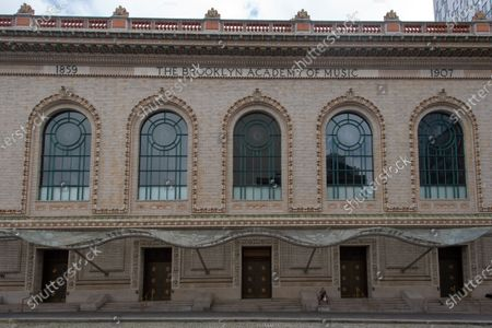 Stock Image of The Peter Jay Sharp building, part of Brooklyn Academy of Music is closed as some restrictions begin to lift during the coronavirus pandemic in Brooklyn Borough of New York City.
