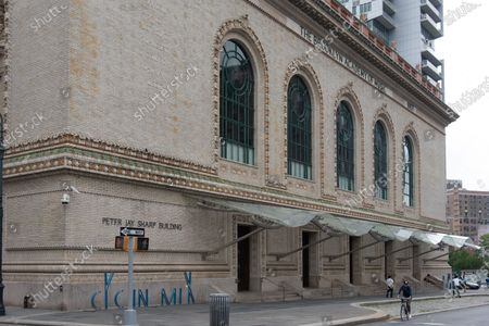 The Peter Jay Sharp building, part of Brooklyn Academy of Music is closed as some restrictions begin to lift during the coronavirus pandemic in Brooklyn Borough of New York City.
