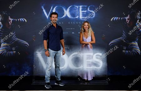Stock Photo of Rodolfo Sancho (L) and Ana Fernandez pose for photographers during the presentation of film 'Voces' (Voices) in Madrid, Spain, 08 July 2020. The film opens in Spanish cinemas on 24 July 2020.