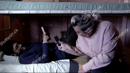 Ep 10089 Friday 17th July 2020 Yasmeen Metcalfe, as played by Shelley King, with cell mate Lucie, as played by Nicola Duffett.