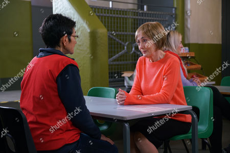 Ep 10090 Monday 20th July 2020 Yasmeen Metcalfe, as played by Shelley King, tells her cell mate that she is getting a visit from a women's charity. When the woman, as played by Paula Wilcox, arrives Yasmeen is shocked by what she reveals.