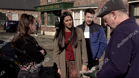 Ep 10088 Wednesday 15th July 2020 As Alya Nazir, as played by Sair Khan, Ryan Connor, as played by Ryan Prescott, Tim Metcalfe, as played by Joe Duttine, and Faye all to make sense of Geoff Metcalfe, as played by Ian Bartholomew, trying to retract his statement against Yasmeen.