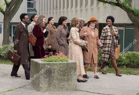 Stock Photo of Rose Byrne as Gloria Steinem, Andrea Navedo as Carmen Delgado Votaw, Elizabeth Banks as Jill Ruckelshaus, Margo Martindale as Bella Abzug and Melissa Joyner as Audrey Rowe Colom