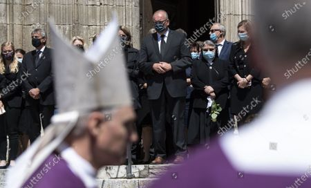 People leave the cathedral after a requiem for the deceased cleric Georg Ratzinger in Regensburg, Germany, 08 July 2020. Ratzinger, brother of Pope Emeritus Benedict XVI, has died aged 96 in Regensburg on 01 July 2020.