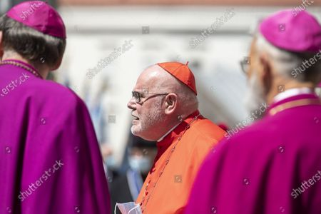 The former Chairman of the German Bishops' Conference, German Cardinal Reinhard Marx, leaves the cathedral after a requiem for the deceased cleric Georg Ratzinger in Regensburg, Germany, 08 July 2020. Ratzinger, brother of Pope Emeritus Benedict XVI, has died aged 96 in Regensburg on 01 July 2020.
