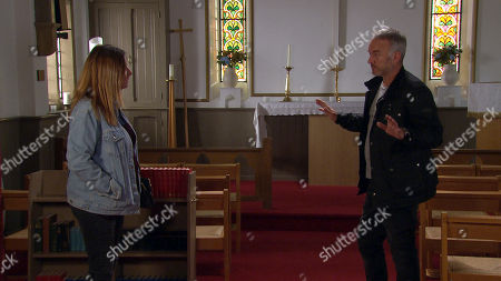 Ep 8807 Monday 13th July 2020 Malone, as played by Mark Womack, insists to Harriet Finch, as played by Katherine Dow Blyton, he had nothing to do with Moira's hit and run.