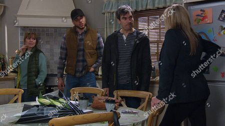 Ep 8809 Friday 17th July 2020 When Kim Tate, as played by Claire King, arrives at Butlers Farm fuming. Nate Robinson, as played by Jurell Carter, and Rhona Goskirk, as played by Zoe Henry, explain their partnership wasn't an act of revenge against her, but Kim's not convinced, threatening to bankrupt them. Also pictured Cain Dingle, as played by Jeff Hordley.