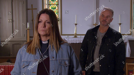 Stock Image of Ep 8807 Monday 13th July 2020 Malone, as played by Mark Womack, insists to Harriet Finch, as played by Katherine Dow Blyton, he had nothing to do with Moira's hit and run.