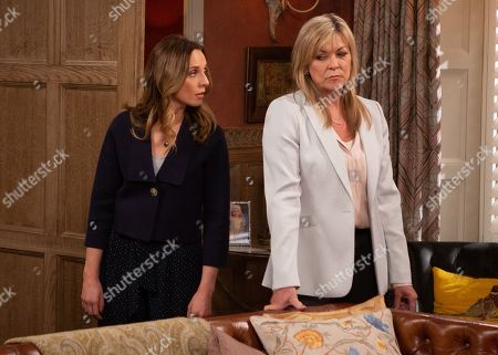 Ep 8811 Wednesday 22nd July 2020 Andrea Tate, as played by Anna Nightingale, lets slip to Kim Tate, as played by Claire King, that Jamie was the one who ran Moira over.