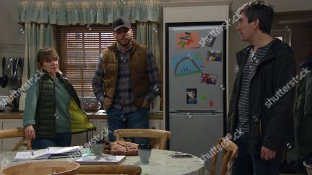 Ep 8808 Wednesday 15th July 2020 Cain Dingle, as played by Jeff Hordley, walks in to find Nate Robinson, as played by Jurell Carter, and Rhona Goskirk, as played by Zoe Henry, discussing their collaboration. Cain tells them not to tell Moira about their business deal.
