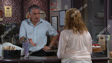 Ep 8808 Wednesday 15th July 2020 Bob Hope, as played by Tony Audenshaw, is adamant he can run the cafe whilst Brenda is away, but concerned when he receives a text saying the insurance won't pay out to help pay off Dan. Nicola King, as played by Nicola Wheeler, has a suggestion for Bob