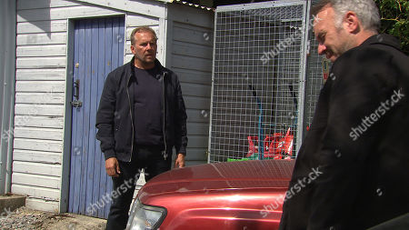 Ep 8812 Friday 24th July 2020 A sinister Malone Malone, as played by Mark Womack, slips into the garage and seeing Will's, as played by Dean Andrews, car parked inside, he smiles as he goes to plant a dealer-sized bag of drugs in the glove compartment but Will catches him and a row breaks out. In the aftermath, a crumpled, lifeless body lies on the floor.