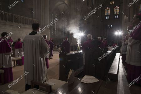 Stock Image of The coffin of deceased cleric Georg Ratzinger is displayed during a requiem at the cathedral in Regensburg, Germany, 08 July 2020. Ratzinger, brother of Pope Emeritus Benedict XVI, has died aged 96 in Regensburg on 01 July 2020.