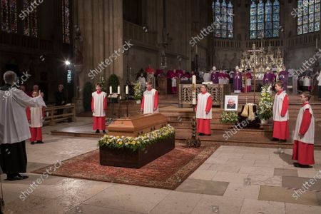 The coffin of deceased cleric Georg Ratzinger is displayed during a requiem at the cathedral in Regensburg, Germany, 08 July 2020. Ratzinger, brother of Pope Emeritus Benedict XVI, has died aged 96 in Regensburg on 01 July 2020.