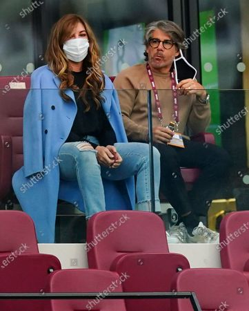 Stock Picture of West Ham Vice Chair Karren Brady sits with he partner Paul Peschisolido