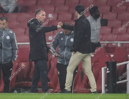 Mikel Arteta manager of Arsenal and Brendan Rogers manager of Leicester City at full time