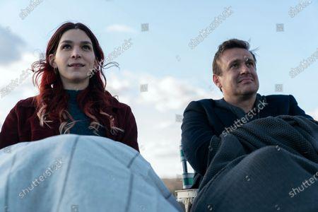 Eve Lindley as Simone and Jason Segel as Peter