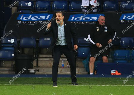 West Bromwich Albion manager Slaven Bilic celebrates his teams second goal 2-0