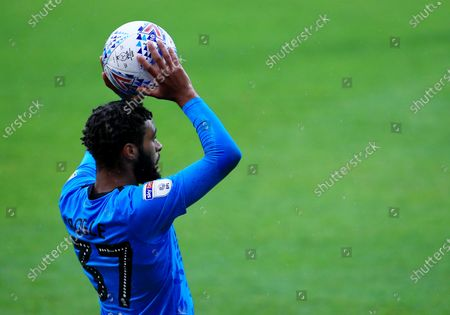 Jayden Bogle of Derby County takes a throw in
