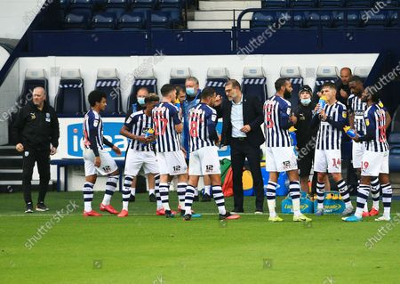 West Bromwich Albion manager Slaven Bilic issues instructions during the drinks break