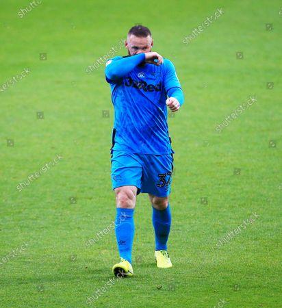 Wayne Rooney of Derby County looks dejected